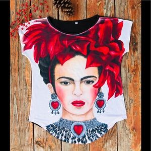 New Frida Kahlo stretchy cotton tee